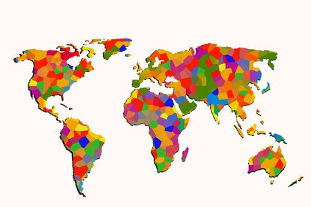Roughly outlined world map with a colorful background patterns Banco de Imagens