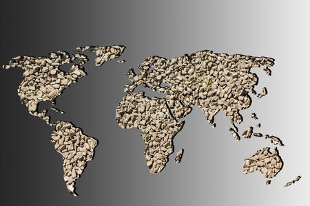 Roughly outlined world map with stone gravel pebble fillings