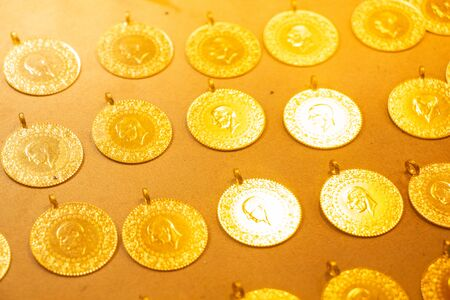 Turkish Gold Coins with portrait in view Archivio Fotografico