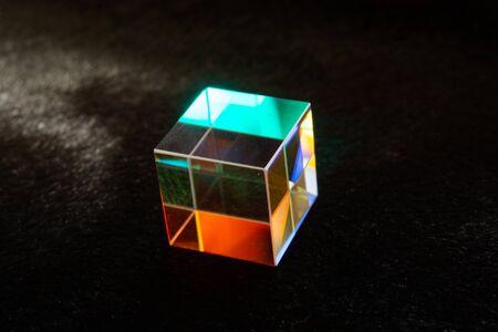Optical glass cube Light dispersion,spectrum. Physics optics ray refractions