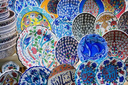 Souvenir and gift ceramic plates in Ottoman style and art patterns
