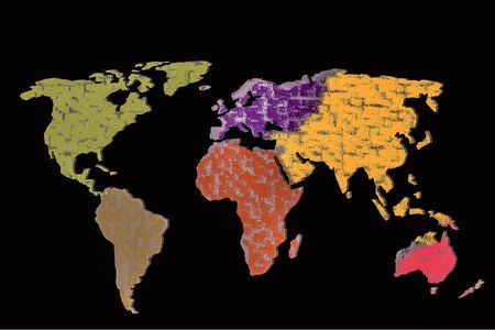 Roughly outlined world map with a colorful background patterns Banque d'images