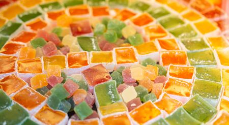 Load of traditional turkish delight lokum sugar coated soft candy