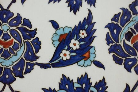 Ottoman style handmade turkish tiles with floral patterns in view