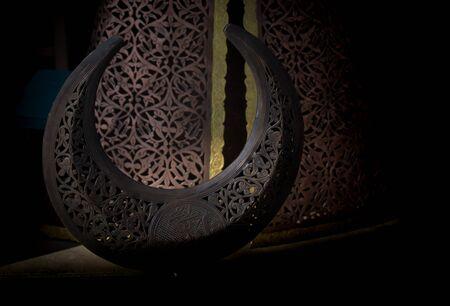 Ottoman crescent icon made of  Metal.  Islamic crescent symbol icon