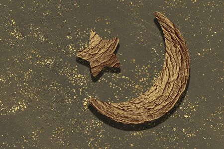 Crescent moon and star. Holy month Ramadan Kareem. Eid Mubarak Foto de archivo