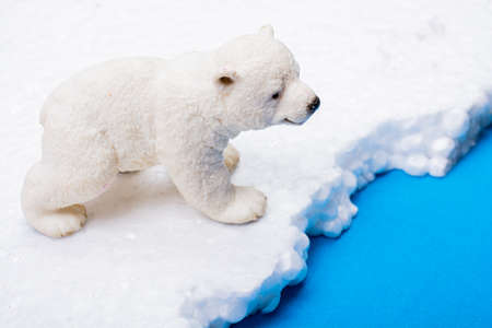 Fake Polar bear cub placed on fake snow and sea background environment