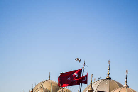 Turkish national flag and domes in open air