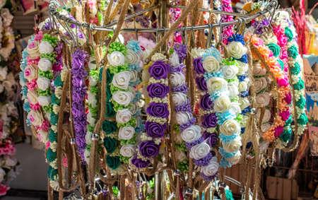 Head crown made of beautiful fake flowers wreath