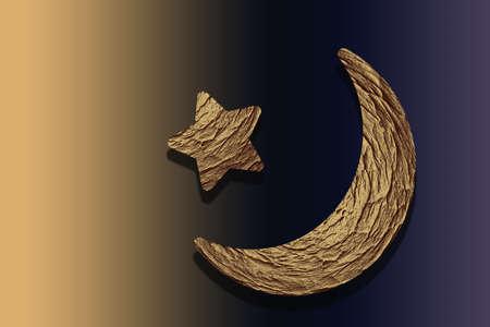 Crescent moon and star. Holy month Ramadan Kareem. Eid Mubarak