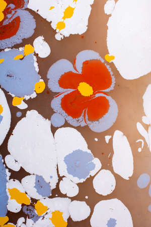 Creative ebru art background with  abstract paint.  Marbling texture floral patterns
