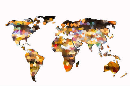 Roughly outlined world map with a colorful background patterns Stok Fotoğraf