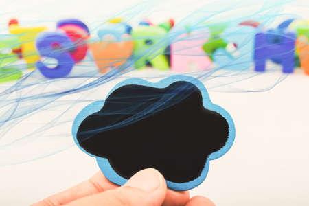Speech bubble icon in hand as communication concept Stok Fotoğraf