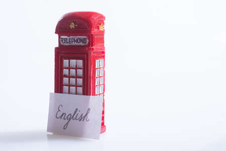 Notepaper with Hello wording near the telephone booth Stok Fotoğraf