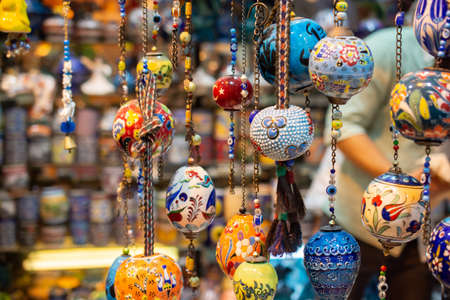 Colorful turkish ceramic balls as souvenirs at street market