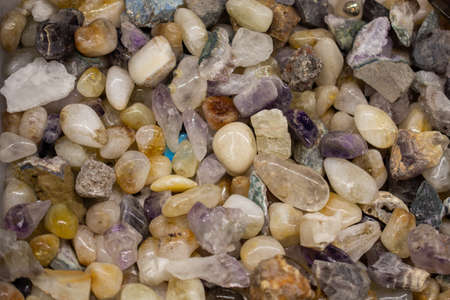 Set of natural various mineral gemstones of various color