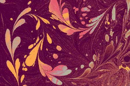 Abstract marbling floral pattern for fabric,tile design. background texture