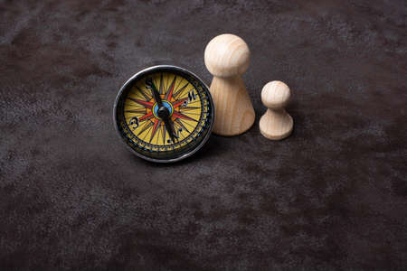Magnetic compass tool as a concept of traveling and  and finding your way Stock Photo