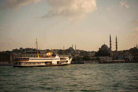 passengers use ferries in Istanbul between two continents.