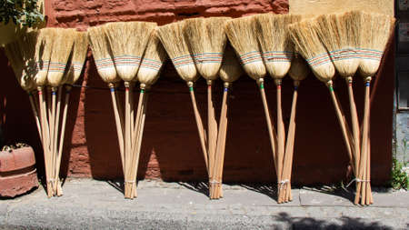 Broom made of broom sorghum or Household, cleaning housewives, concept.