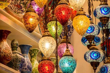 Mosaic colorful Ottoman lamps  Lanterns Фото со стока