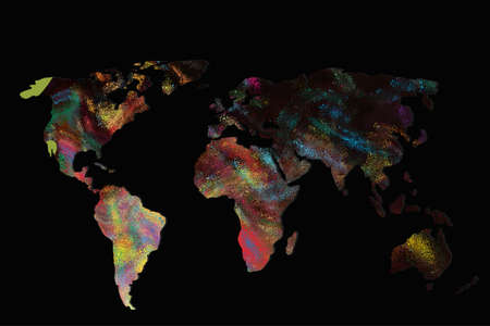Roughly outlined world map with a colorful background patterns Фото со стока