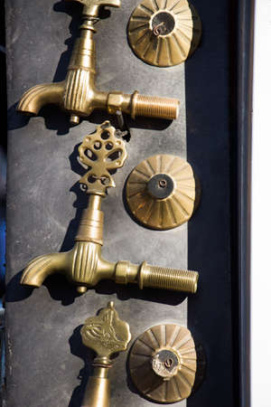 Set of Turkish Ottoman style antique fountain  water taps in view