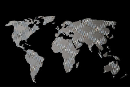 Roughly outlined world map with white background Фото со стока