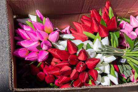 Colorful fake artificial flowers  in view