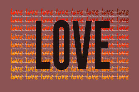 Love wording as symbol of love and care. Happy Valentines Day heart greeting