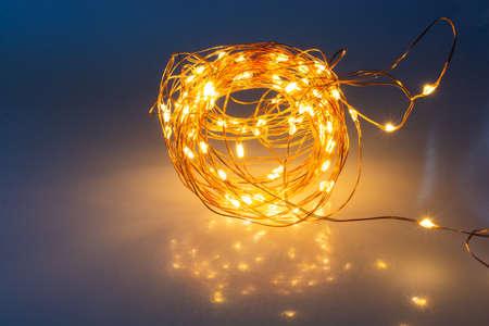 Glowing light festive christmas party decor. Luminous background set