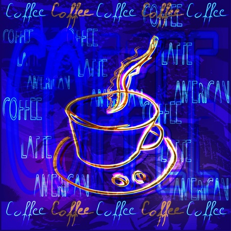 saucer: cup of coffee Illustration