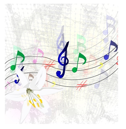 eight note: Abstract illustration of a stave with music notes Illustration