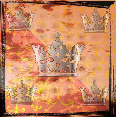 crown tail: Gold Princess crown on the pink pillow Illustration