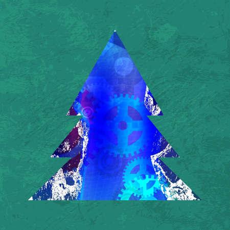 furtree: Techno fur-tree illustration. blue background