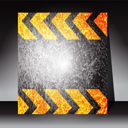 asphalt paving: A grungy and worn hazard stripes texture in yellow and black. Illustration