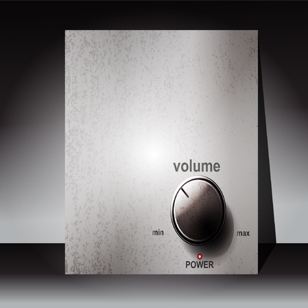 player controls: Chrome volume knob with scale on white background Illustration