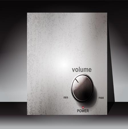 player controls: Cromados control de volumen con una escala en el fondo blanco