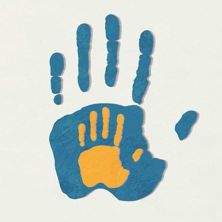 Helpende handen. Volwassen Care about child.greeting