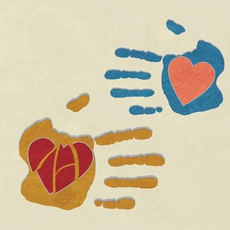 hands holding the heart. charity.broken heart of love Vector