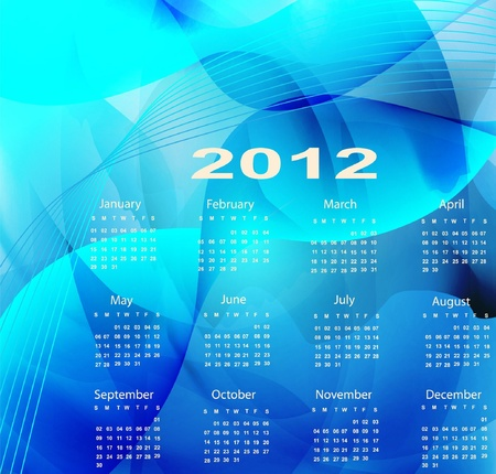Blue calendar for the new year 2012 Vector