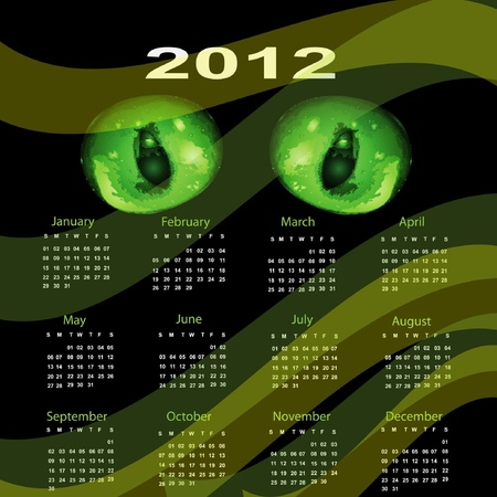 Calendar 2012 Dragon green eyes. Vector