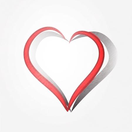 Painted brush heart shape background. Illustration