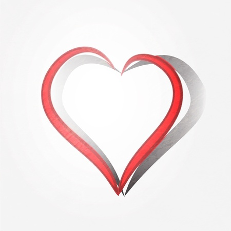 Painted brush heart shape background. Vector