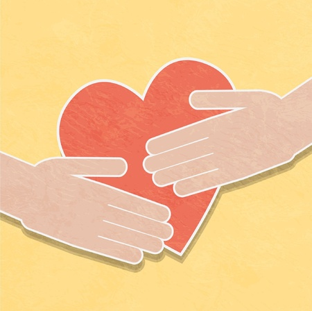 goodness: hands holding the heart. charity Illustration