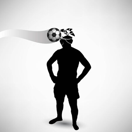 concussion: soccer ball hit in the head background.