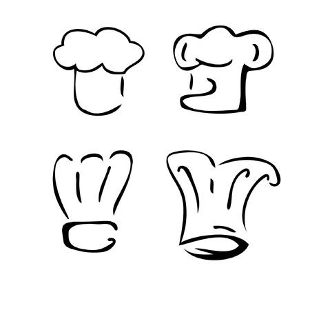 cocinero italiano: conjunto de chef de sombreros Vectores