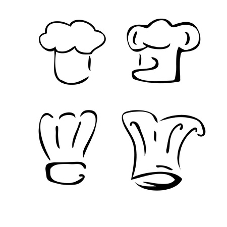 italian chef: set of chef hats Illustration