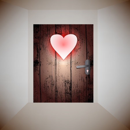 wood door love Stock Vector - 12349867