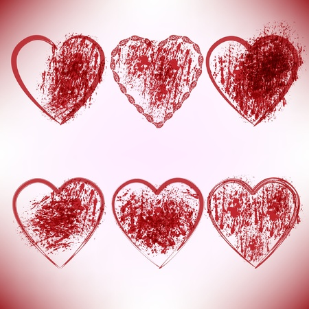 set of scribble hearts Stock Vector - 12349886